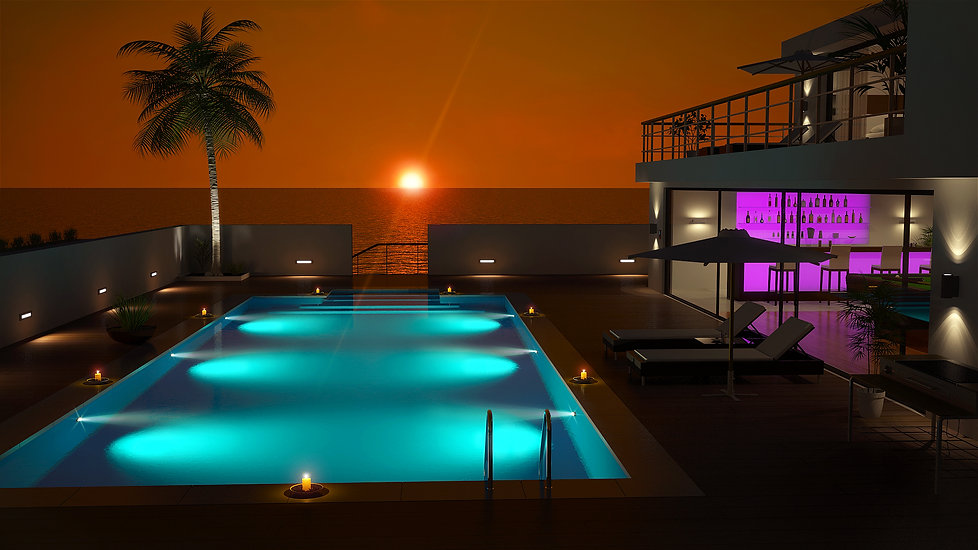 Beach house design sunset
