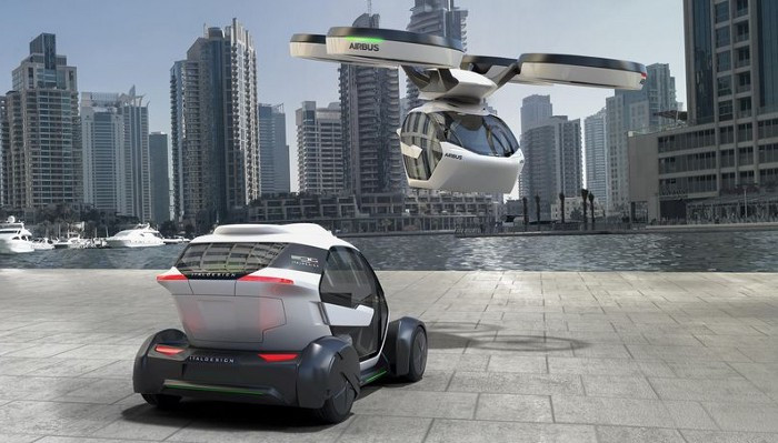 A personal drone transport and a self-driving car