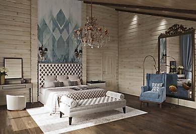 интерьер спальни в доме из бруса