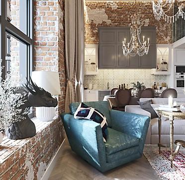 3д проект двухэтажной квартиры