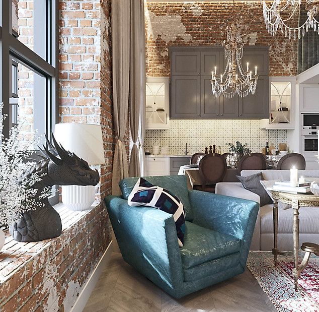 3д интерьер двухэтажной квартиры