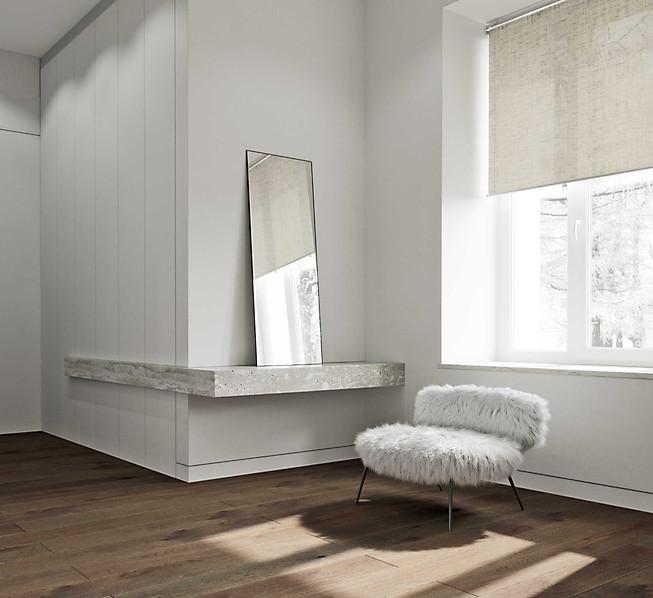 3д визуализация спальни в минималистичном стиле