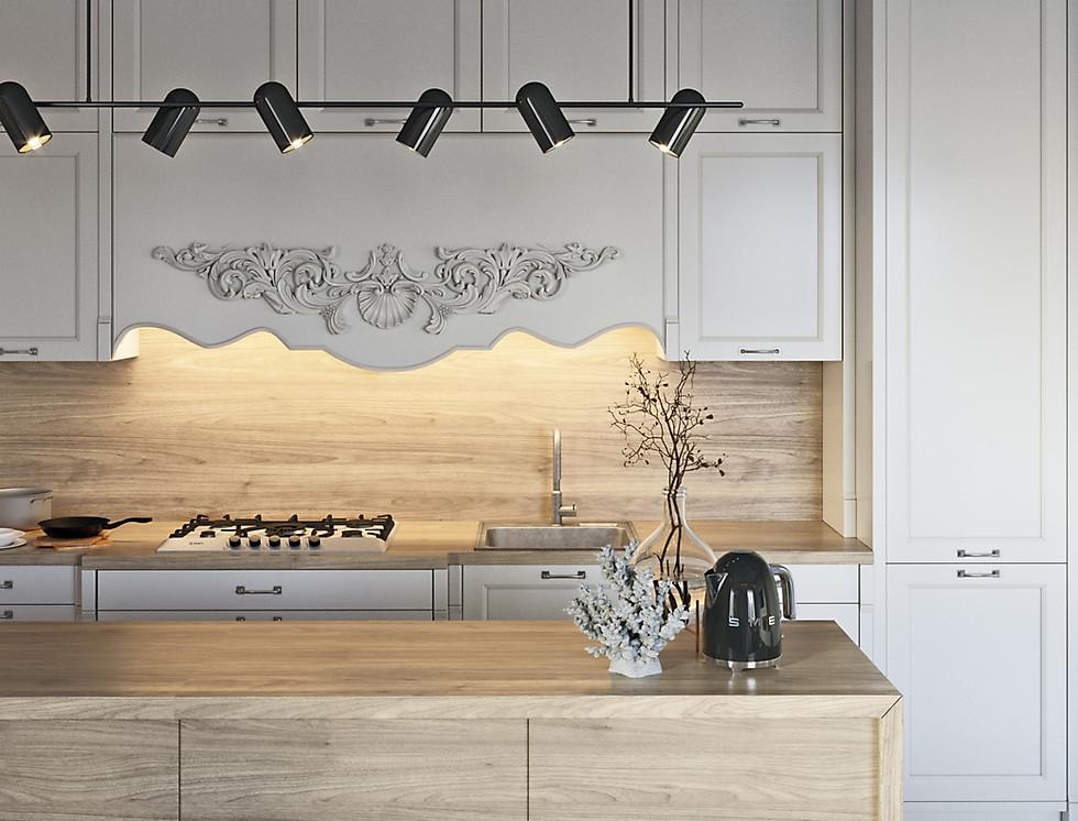 красивая кухня визуализация