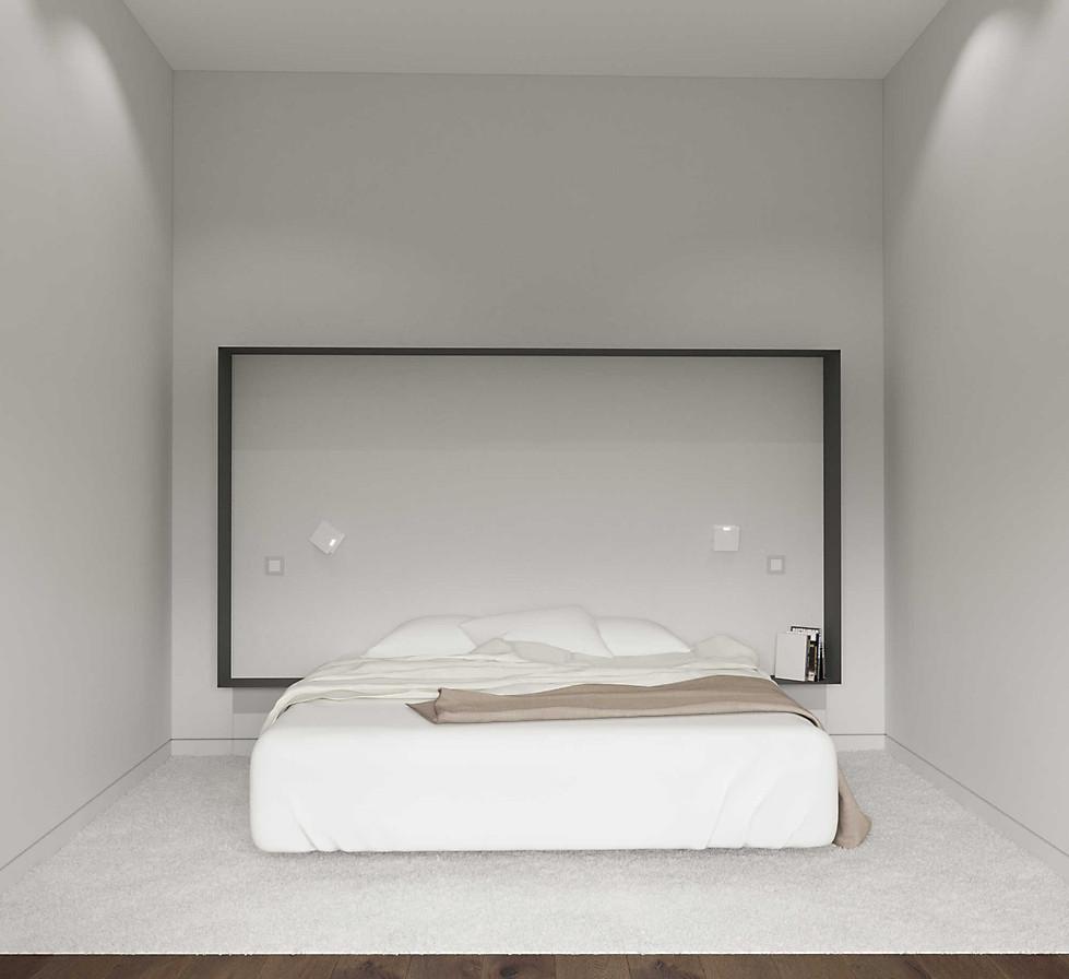 минималистичная спальня визуализация