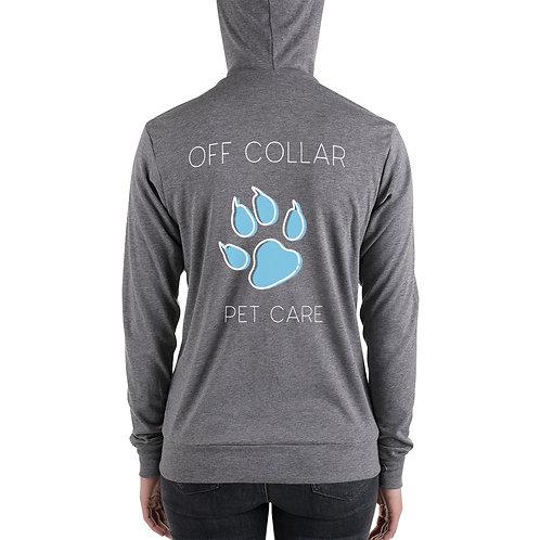Women's Off Collar zip hoodie