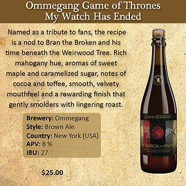 Ommegang Game of Thrones Watch has Ended