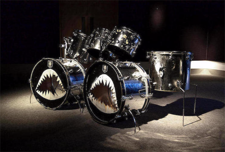 Motorhead S Phil Philthy Animal Taylor S Original Camco Drum Kit With Shark Motif Bass Drumskins Is Up For Auction At Bonhams
