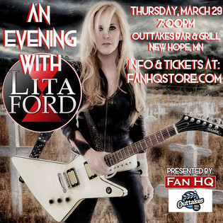 Lita Ford to play Storytelling / Acoustic Show in New Hope,MN March 29th