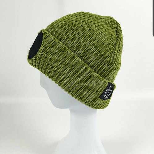 Olive Base Patch Beanie
