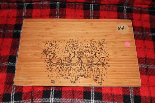 Santa with Reindeer Cutting Board