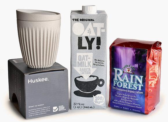 Javista coffee care package: pack of Urth coffee, Oatly oat milk, Huskee cup