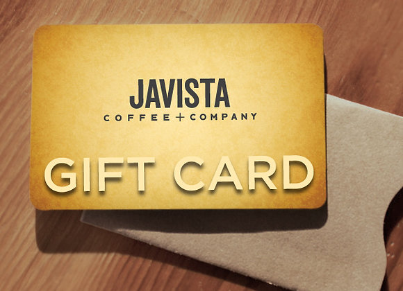 Javista gift card and paper sleeve