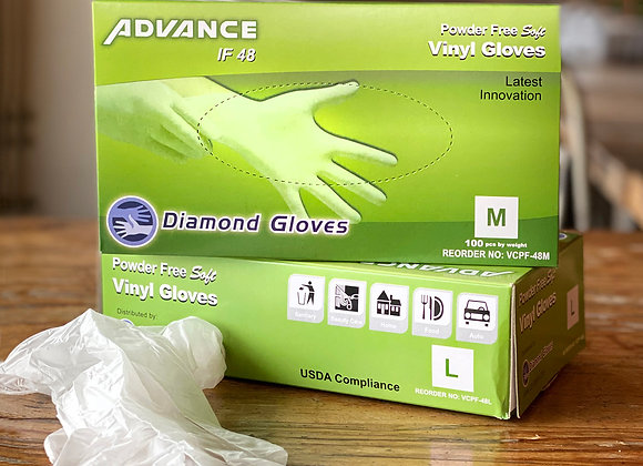 Box of 100 vinyl gloves