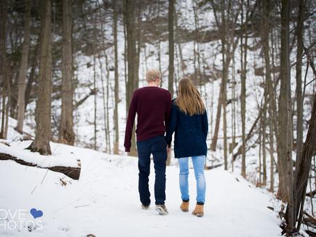 Tiffany Falls Hamilton Winter Engagement Shoot | Amanda + Greg | Love Photos Hamilton Wedding Photog