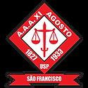 Emblema da Atlética, formado pela composição de uma espada e uma balança, com os anos 1827 e 1933.
