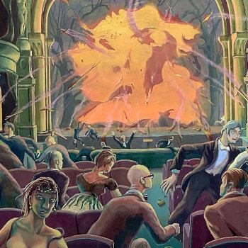 Bizarre Painting of Crowd Fleeing Macbeth Opera