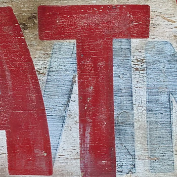 Portion of an Old Sign with Ghost Lettering