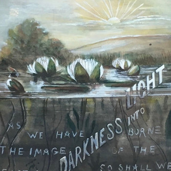 "1899 Watercolor, ""Out of Darkness into Light"""