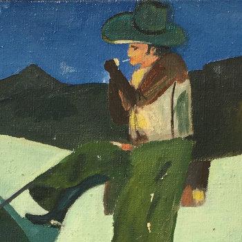 Vintage Marlboro Man Painting, Signed Coates
