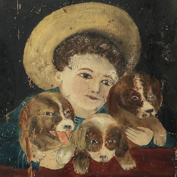 Naive Antique Painting on Wood