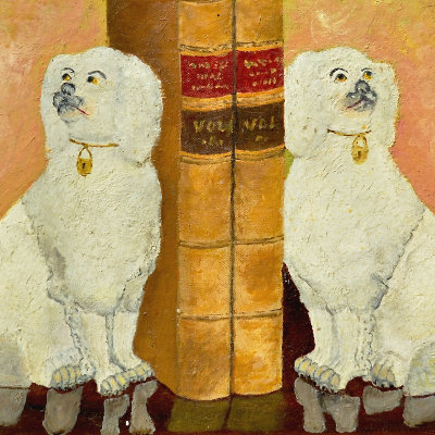 Quirky Dog Bookends Painting