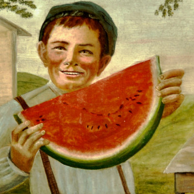 Antique Boy with Watermelon