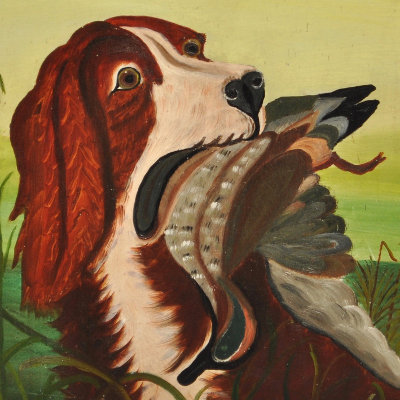 Antique Bird-Dog Painting