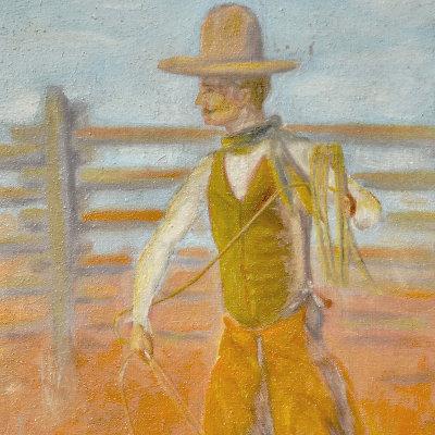 1921 Lassoing Cowboy