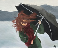 MIA JUNDEF_Umbrella Struggles_Oil Paint.