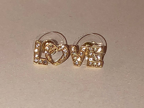 "Gold ""Love"" Studs"