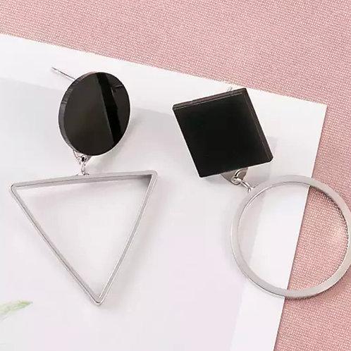 Silver Geo XO Earrings