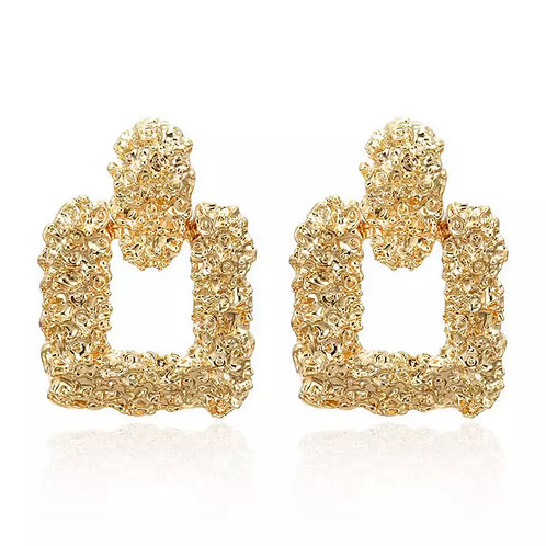 Gold Square Cluster Earrings