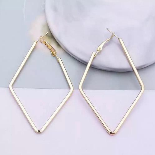Gold Diamond Geo Hoops
