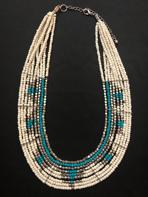 Tri Color Beaded Necklace