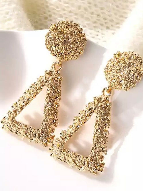 Gold Triang Cluster Earrings