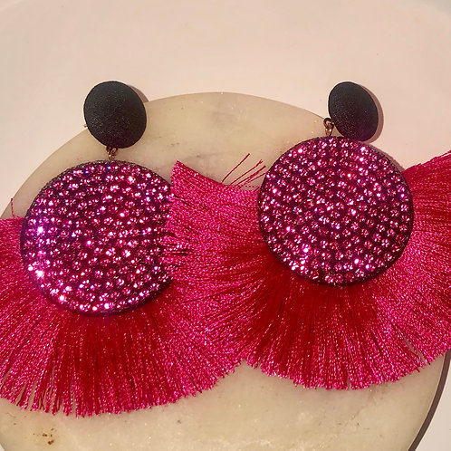 Pink Fuschia Tassle Earrings