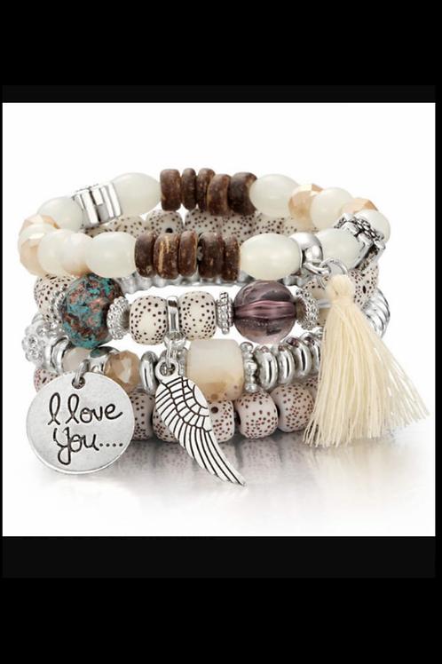 I Love You Stacked Bracelets