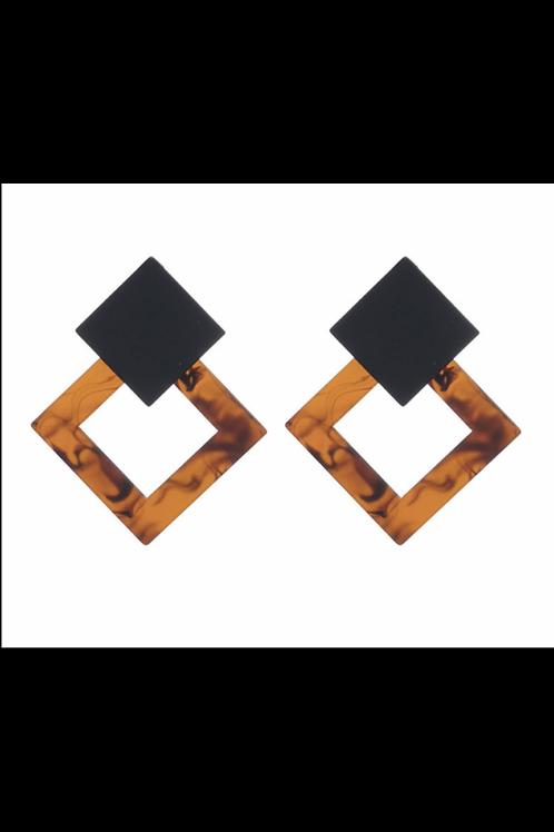 Angular Black & Brown Earrings