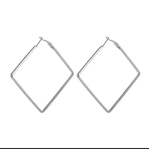 Silver Diamond Oversized Hoops