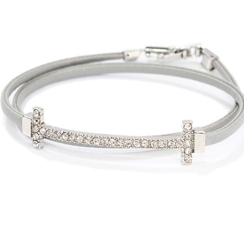 Grey Leather Barstone Bracelet