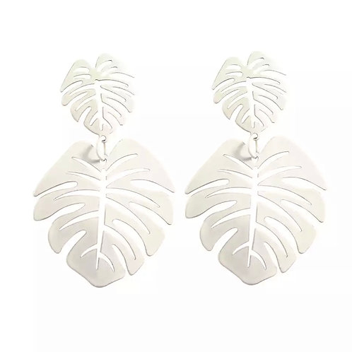 White Leafy Earrings
