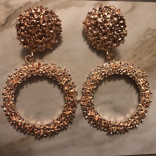 Rose Gold Circle Cluster Earrings