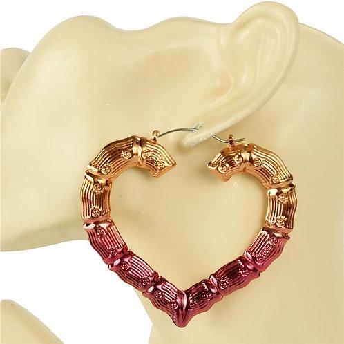 Pink Heart Hoop Earrings