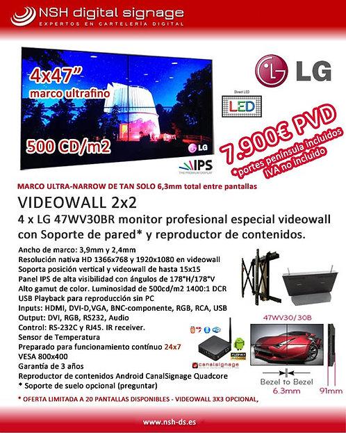 """PROMO VIDEOWALL 2x2  monitores 47"""" marco ultrafino"""