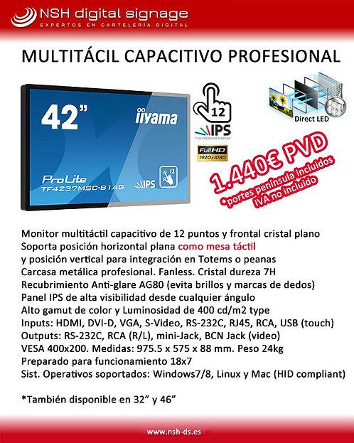 "Pantalla Multitáctil capacitiva 42"" de 12 puntos"