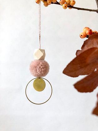 "Deko - Anhänger ""Pompon Brass Rosé"""