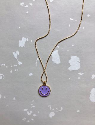 "Necklace 24K vergoldet  ""Anhänger Smiley"" - lilac"