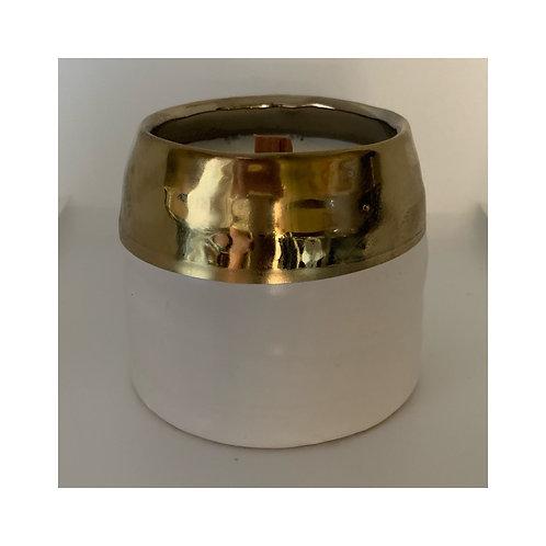 """""""Sweet Ava"""" in 9 oz. Gold/White Ceramic Pot"""