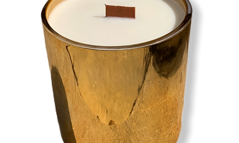 "13 oz.""Sweet Ava"" Soy Candle in Beautiful Metallic Gold Glass"