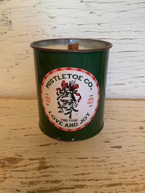"""""""Mistletoe"""" Candle in Vintage Mistletoe Metal Tin"""